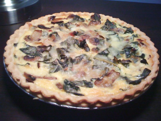 Kale Mushroom and Bacon Quiche
