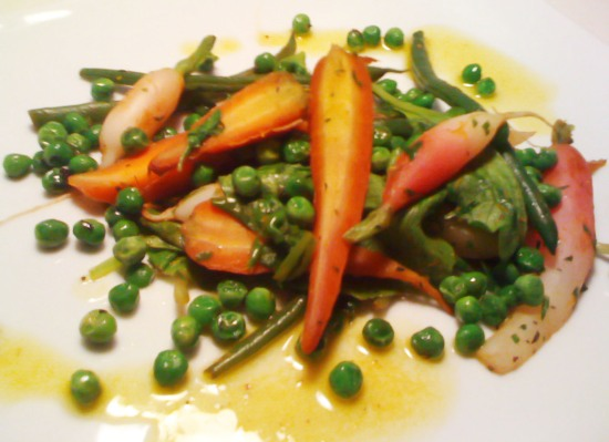 Breakfast Radish, Carrot, Spring Peas, and Haricoverts with Orange Butter