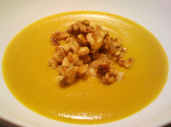 Winter Squash and Apple Soup with Turnips and Walnuts